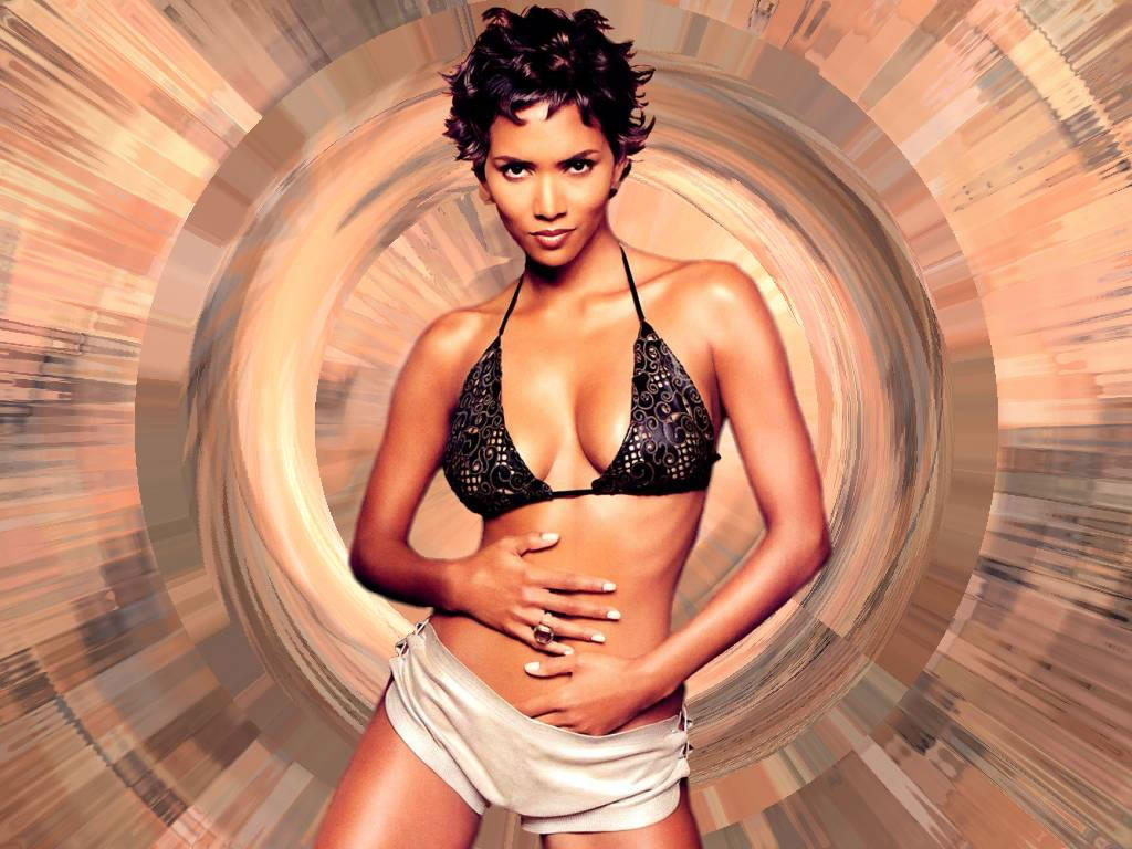 Halle Berry With Swirl Tan Background